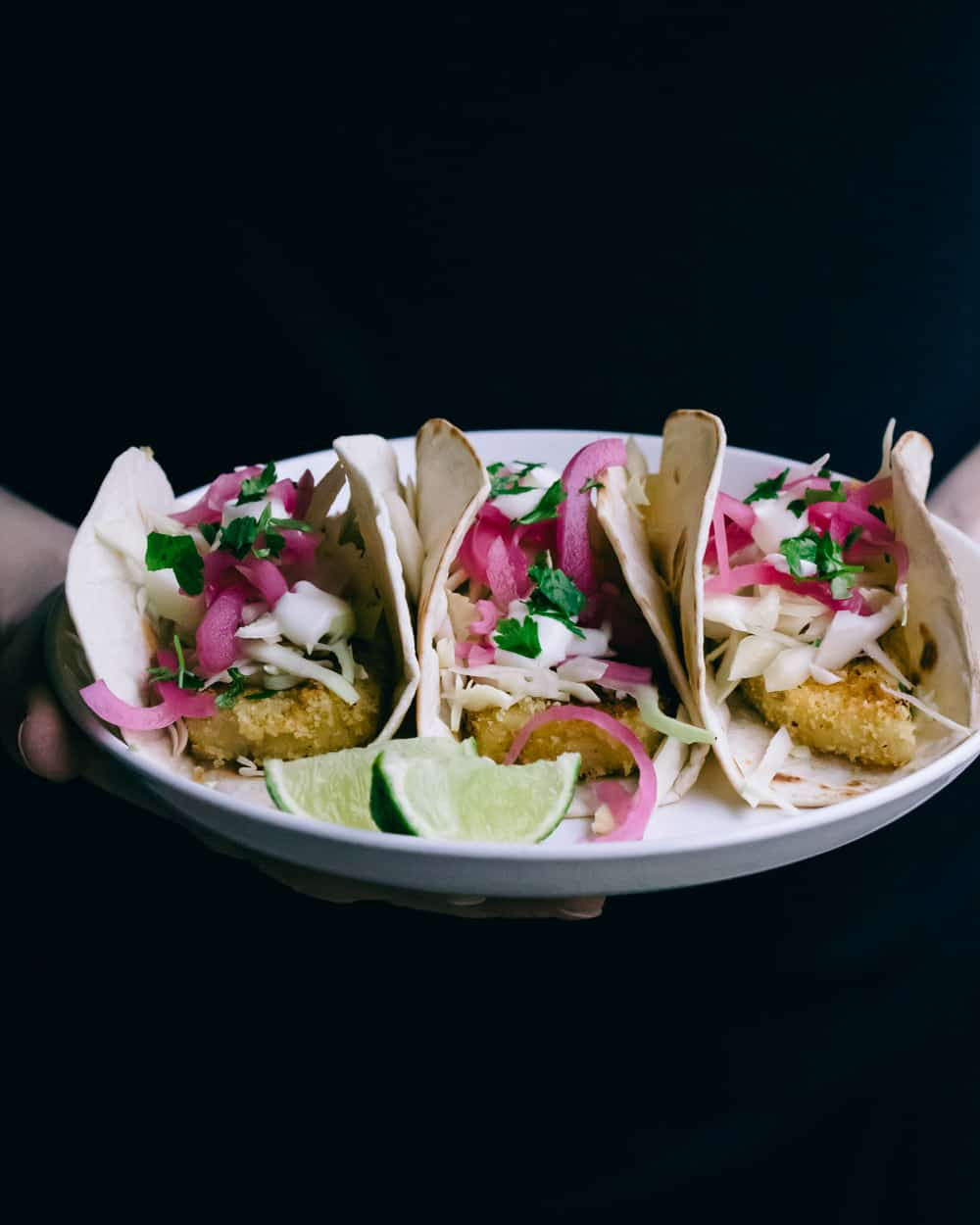 Vegan fish tacos on a plate