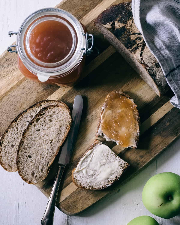 apple butter spread and sourdough bread